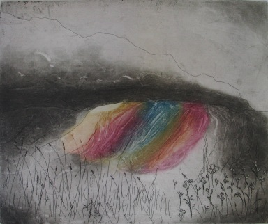 O'Hara_Ciara_Rainbow Mountain_Etching and spit bite_exhibited Graphic Studio Gallery Summer 2011